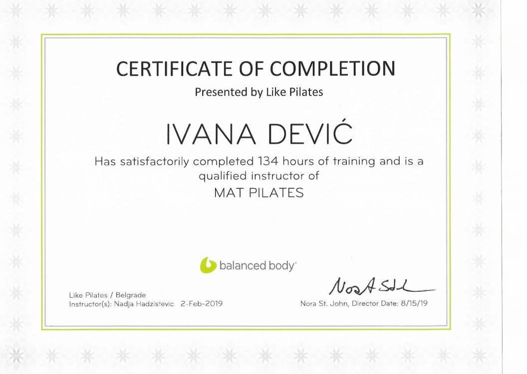 Mat Pilates Certificate
